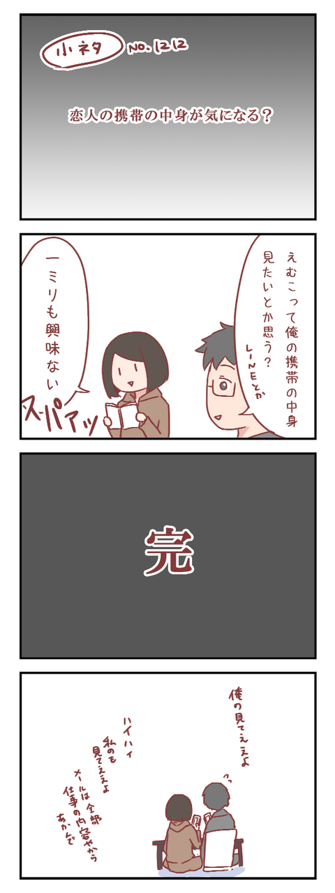 【小ネタ】恋人の携帯の中身って気になる?(婚活編)【ろぐ765】