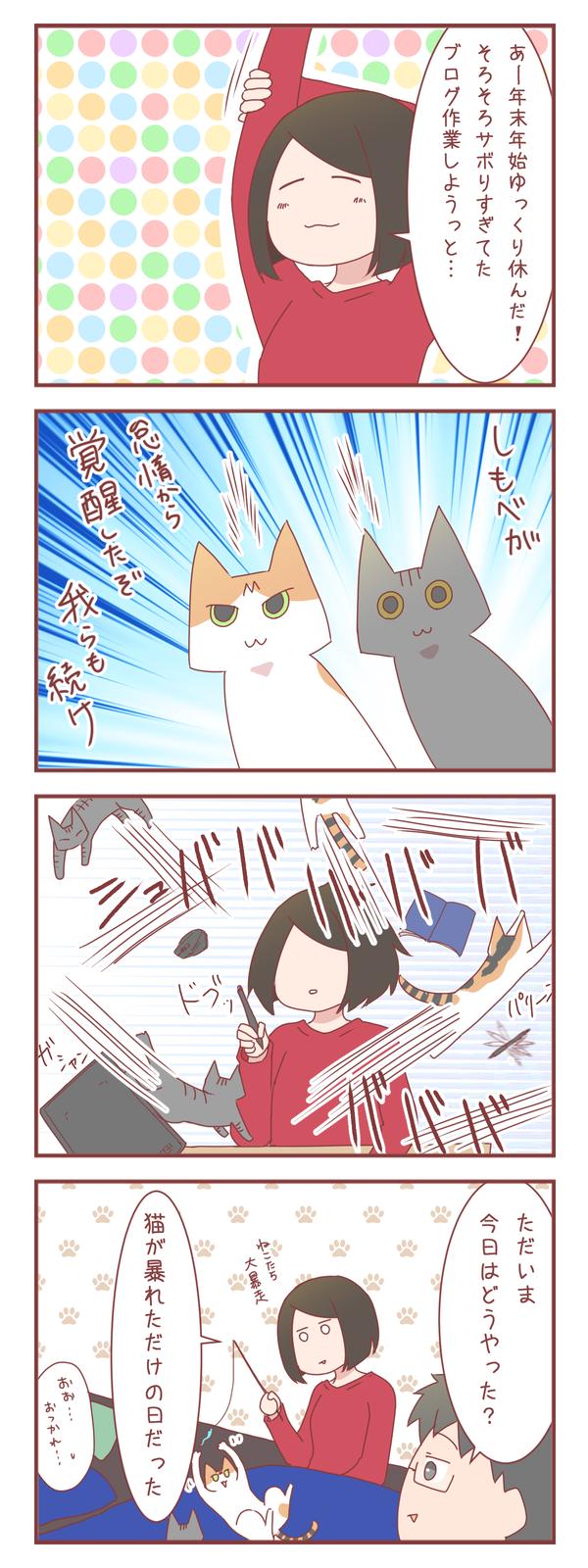 ヒトが覚醒するタイミングで猫も覚醒するので