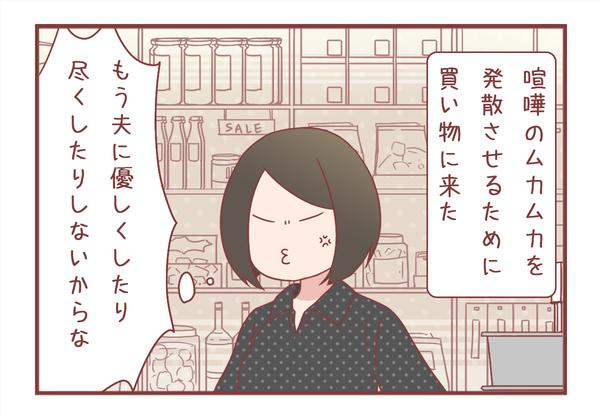 夫婦喧嘩の翌日、ストレス発散のための買い物にて。