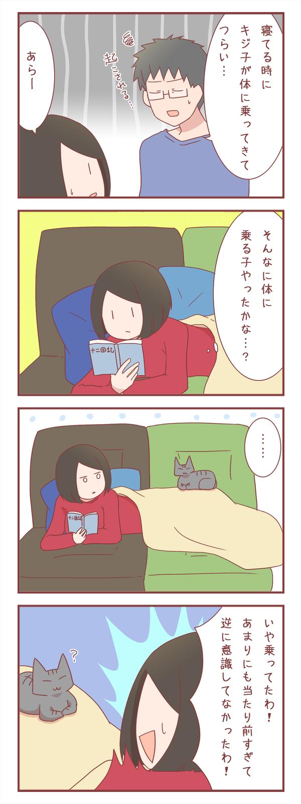 キジ子はそんなに体に乗る猫だっけと思っていたら