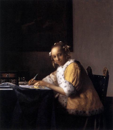 A Lady Writing Johannes Vermeer