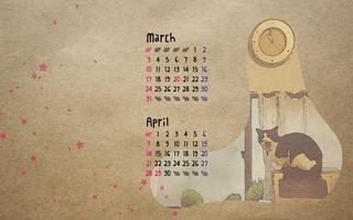 もんちやん壁紙カレンダー3月と4月・左レイアウト