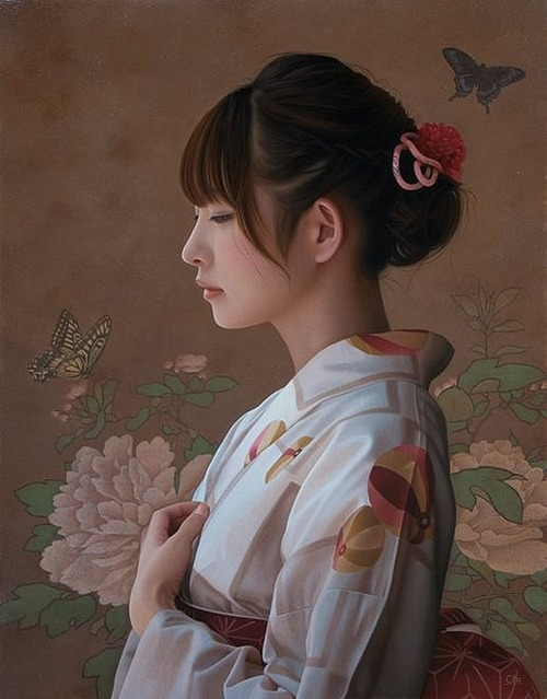 【話題】驚異的な写実性!まるで写真のように写実的に描かれた着物の女性の美しさよ!