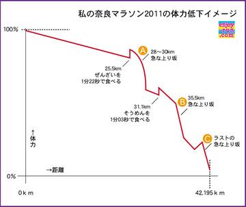 私の奈良マラソン2011の体力低下イメージ