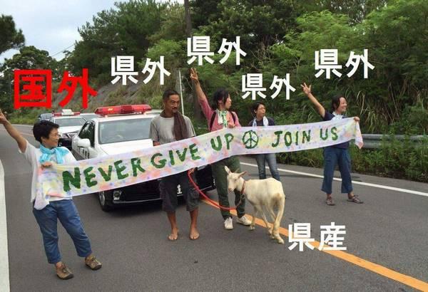 高江、ヤギ以外は県外という現実