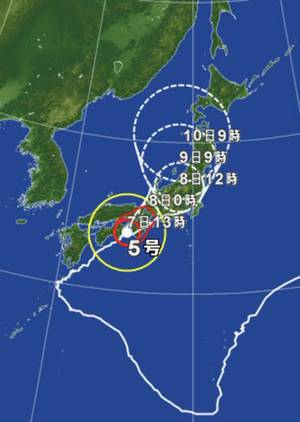 台風5号 カーブ