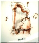 ハープを奏でる猫の絵