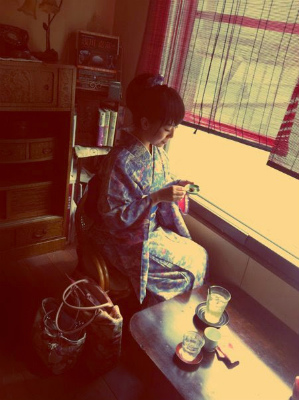 着物で古民家カフェ