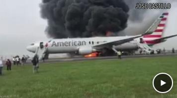 アメリカ・シカゴの空港で離陸しようとしていた国内線の旅客機から出火し、170人が全員脱出、8人がけが