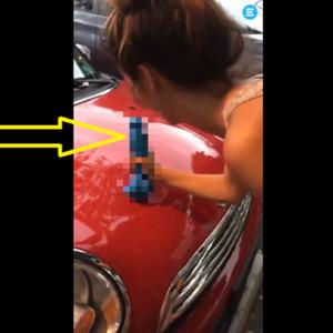 女性が車のボンネットの凹みを直す方法が斬新すぎw その特殊工具は何だよw
