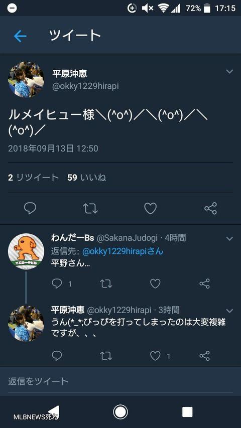 【悲報】ワールドスポーツMLB司会者平原沖恵さん、平野が打たれたのに大喜びしてしまう