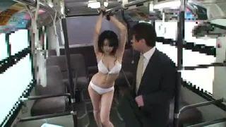 【水嶋あずみ】バスに拘束された水着美人にセクハラ痴漢しまくる