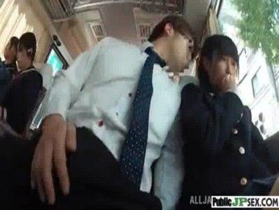 バスの中で女子校生の隣に座ったのは変態中年、勃起チンポを見せつけしごかせようと強要する
