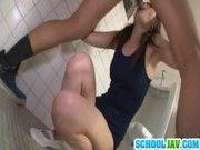 ツインテールスクール水着のロリ美少女をトイレで犯しまくる