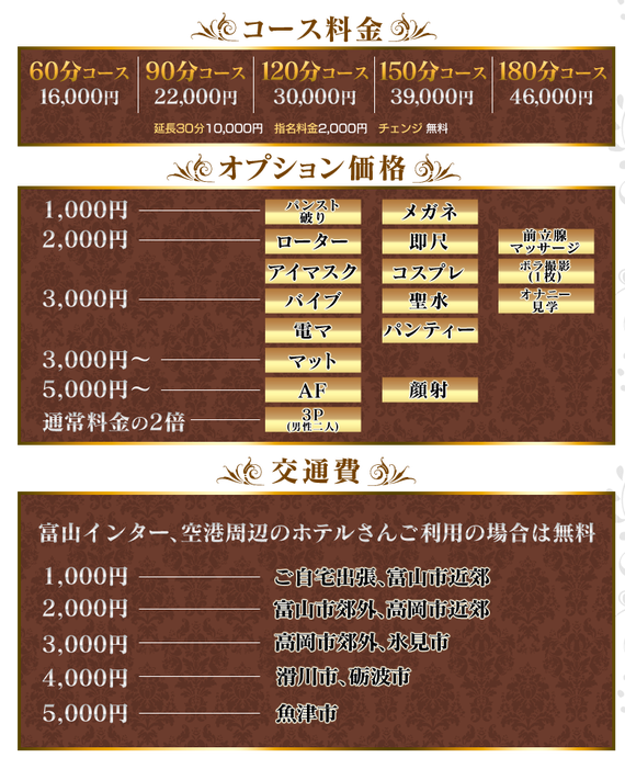 富山デリバリーヘルスエロス料金表