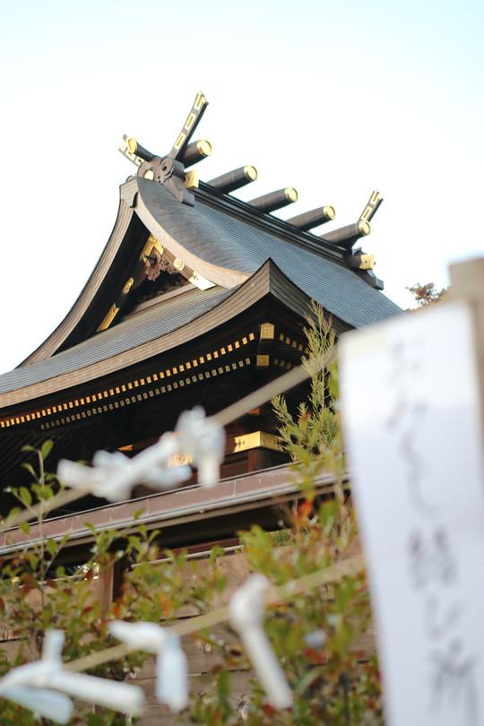 2014年元旦 日の出前の鷲宮神社本殿