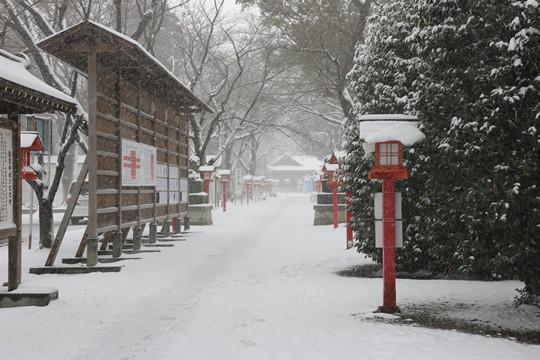 雪の鷲宮神社 鳥居前から見た境内