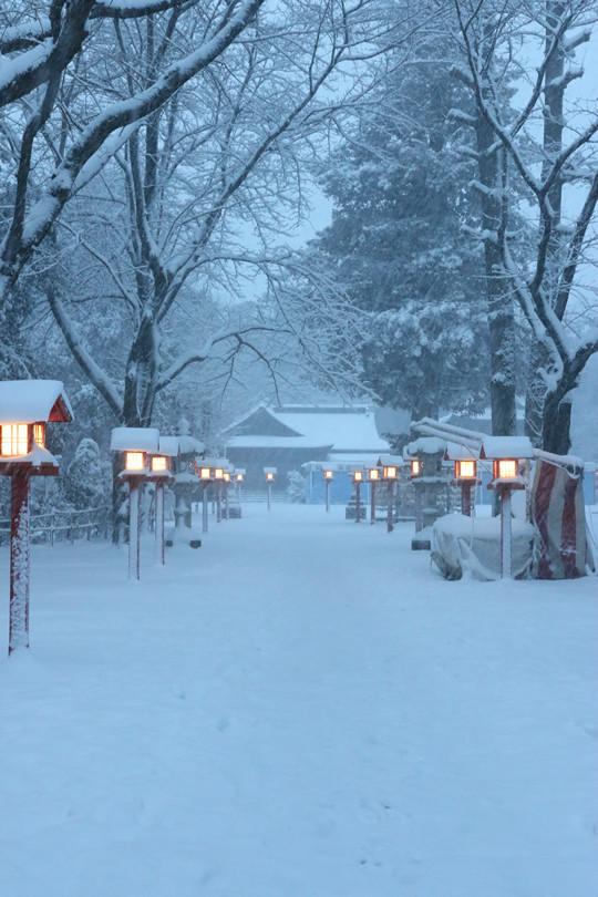 雪の鷲宮神社 日没後の境内