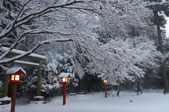 雪の鷲宮神社境内裏手