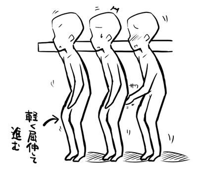 ひざで軽く屈伸する感じ