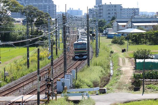 八甫跨線橋から見たJR宇都宮線(東鷲宮駅方面)