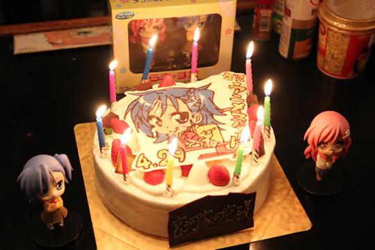 宮河家の空腹 アニメ放送開始記念ケーキ ロウソク点灯