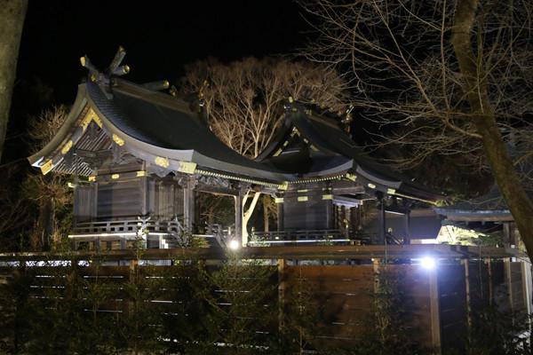 ライトアップされた本殿 鷲宮神社2015年初売り
