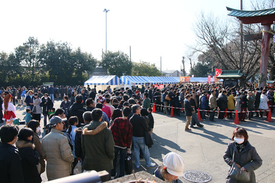 2014年元旦の鷲宮神社初詣列3