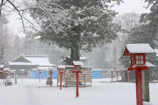 雪の鷲宮神社 絵馬掛け所付近