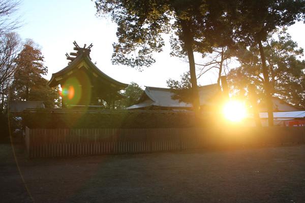 初日の出と鷲宮神社本殿 鷲宮神社2015年初売り