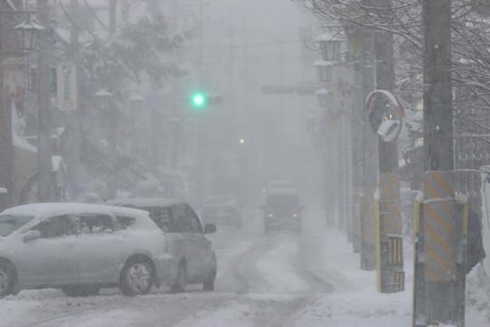 雪の鷲宮神社門前通りの吹雪