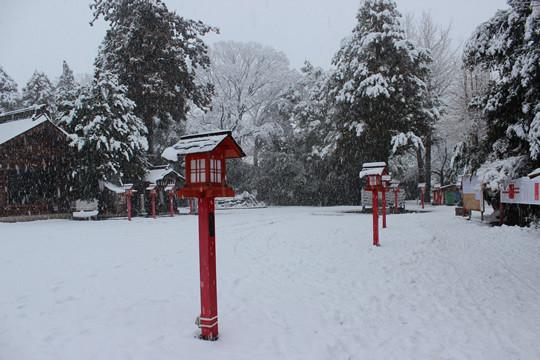 大雪の日の鷲宮神社境内