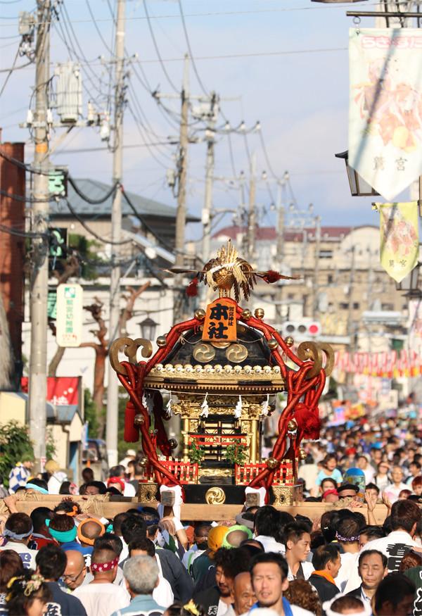 土師祭2014-千貫神輿と鷲宮神社通り