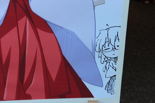 らき☆すた立て看板の直筆描きたしイラストのみゆき
