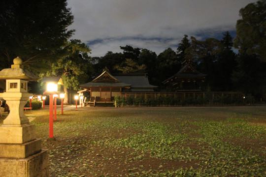 台風が過ぎた夜の鷲宮神社境内
