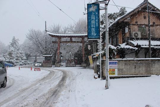 大雪の日の鷲宮神社鳥居