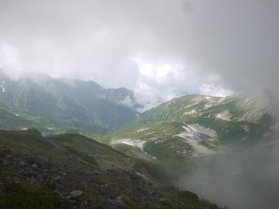 白馬岳山頂付近から鉢ヶ岳