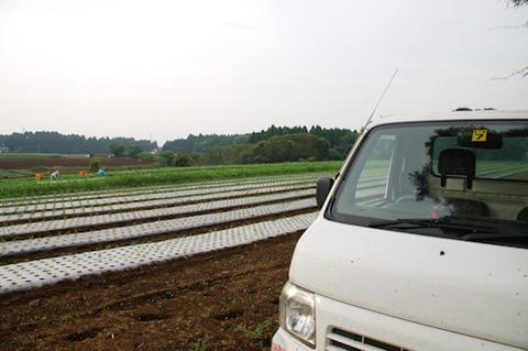 トラックと畑