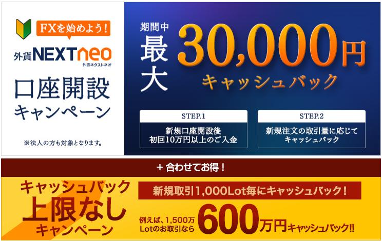 外為どっとコム3万円キャッシュバック