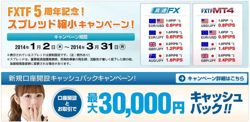 FXTF3万円キャッシュバック