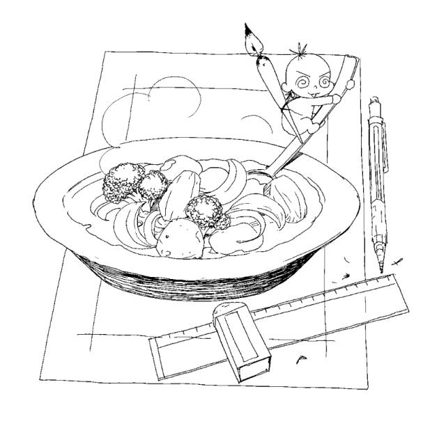 漫画家シチュー(食べ物エッセイ『くいいじ』より)