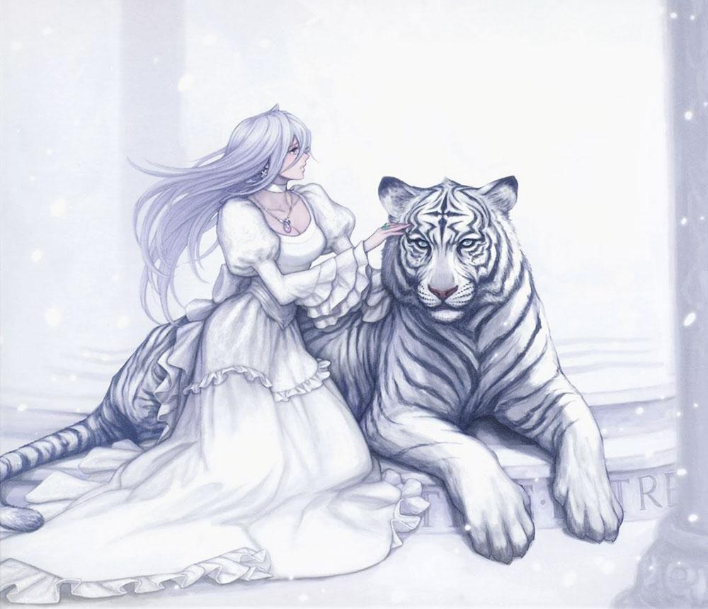 Anime white tiger girl