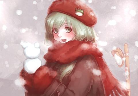 東風谷早苗と冬-01