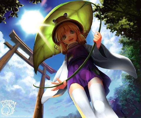 洩矢諏訪子と葉っぱ傘-45