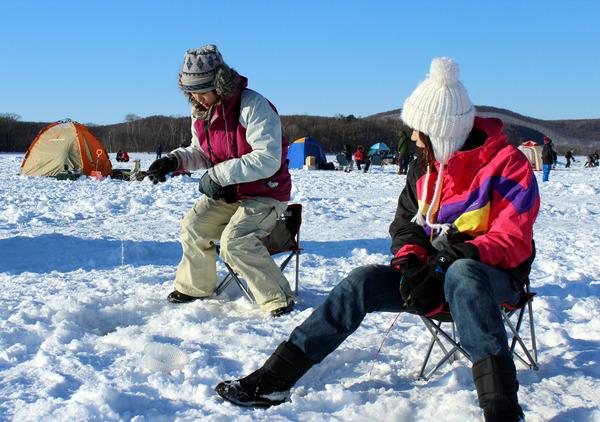 網走湖ワカサギ釣り体験