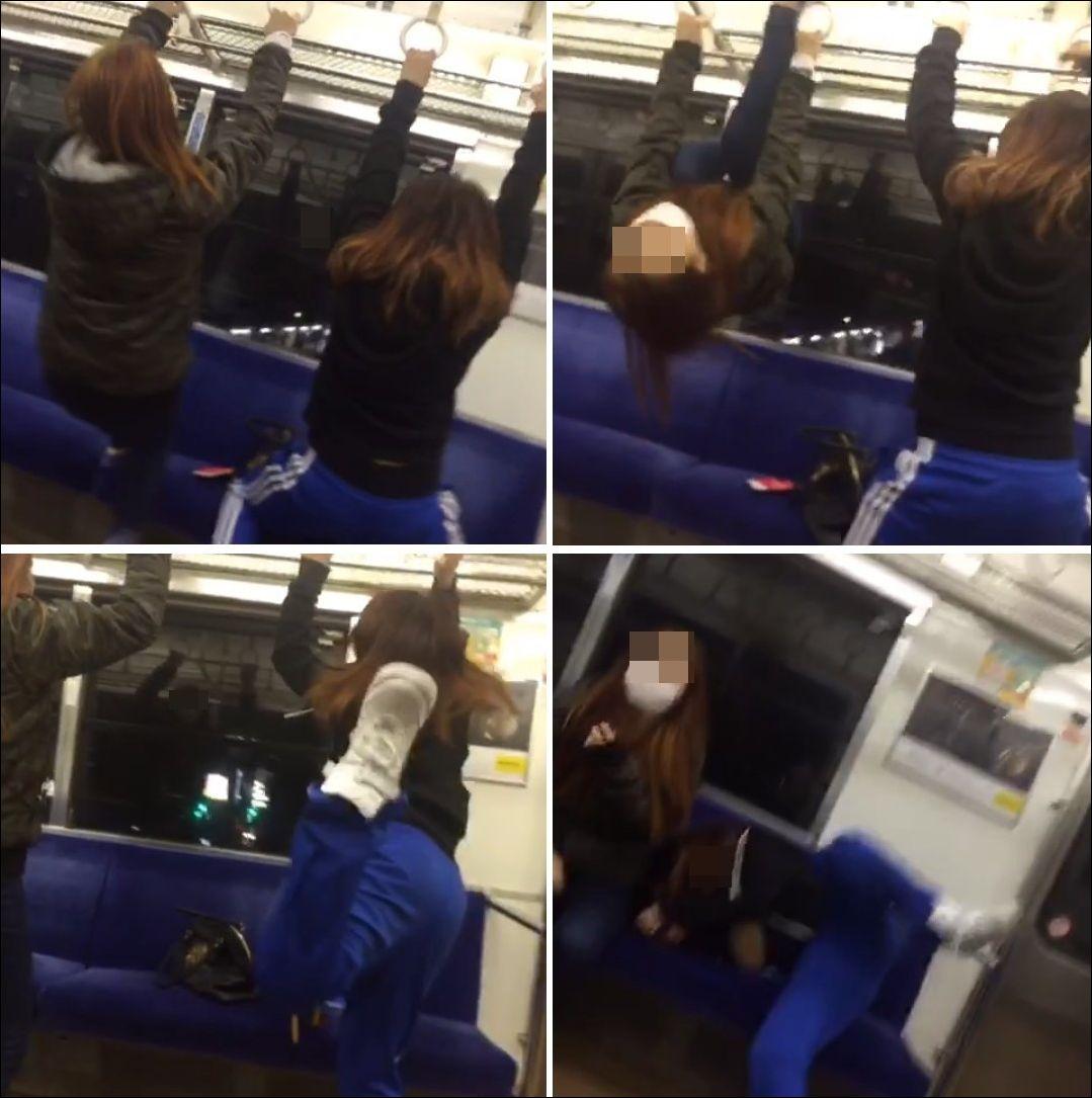 【炎上】DQN女子中学生集団が電車でサルのように大暴れ、動画を自慢!ホームに座り込んで喫煙もwwwwwwwwwwwwwのサムネイル画像