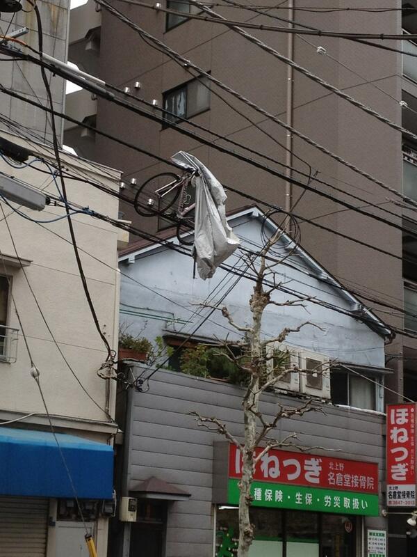 【画像】「台東区で自転車が電線に引っかかってる!」 関東、今年最強の風で大騒ぎのサムネイル画像