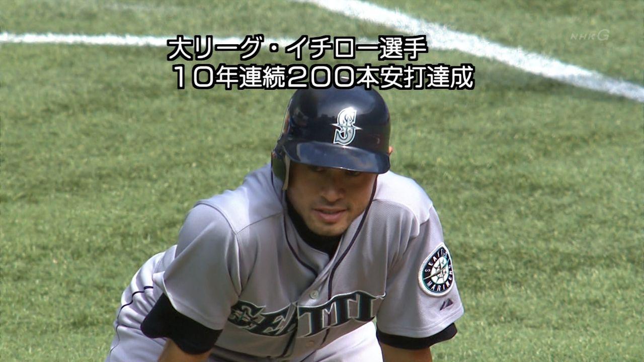 イチロー10年連続200本安打達成!!のサムネイル画像