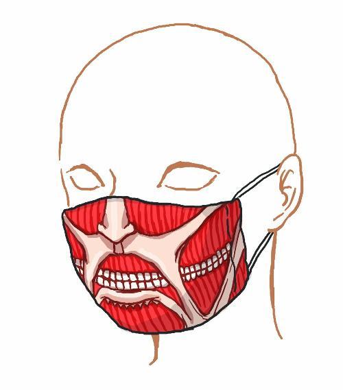 【話題】『進撃の巨人』風タイツの次は巨人になりきれるマスクだ! 同じくキモかわキモ過ぎ 風邪の時につけたらどう?のサムネイル画像