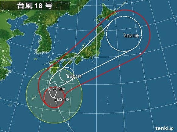 【台風18号】観測史上初、九州・四国・本州・北海道全てに上陸・・・のサムネイル画像